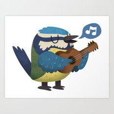Singing Blue Tit Art Print