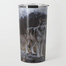 Wolf on Log Travel Mug