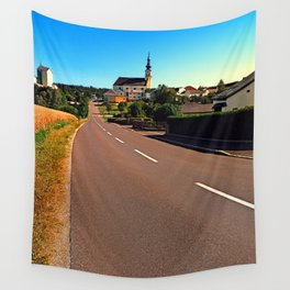 Village road in summertime Wall Tapestry