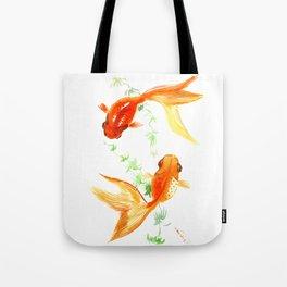Goldfish, Feng Shui Asian Watercolor Tote Bag