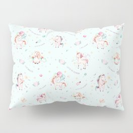 Magical pink teal green watercolor typography unicorn Pillow Sham