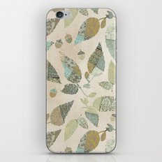 Nostalgic Patchwork Autumn Leaf Pattern Teal Beige iPhone Skin
