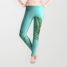Peacock Feather on Blue Background Leggings