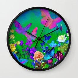 Green Butterflies & Flowers Wall Clock