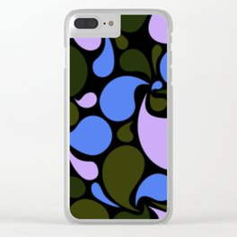 Blue Purple and Dark Olive Green Paisley Pattern Clear iPhone Case