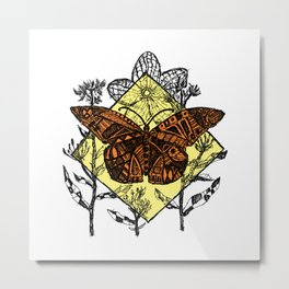 Monarch Butterfly Sketch - Color Metal Print