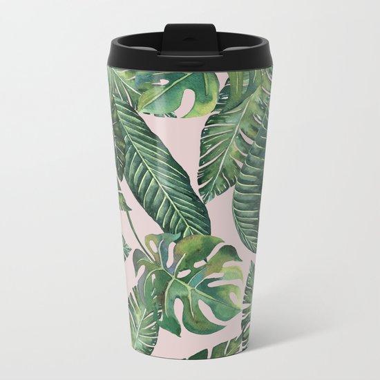 Jungle Leaves, Banana, Monstera Pink #society6 Metal Travel Mug
