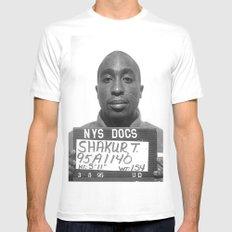 Tupac Mugshot MEDIUM White Mens Fitted Tee