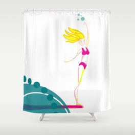 Thrivistas Surfer Girl Noseride Shower Curtain