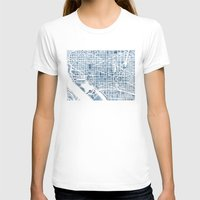 washington dc T-shirts featuring Washington DC Blueprint watercolor map by Anne E. McGraw