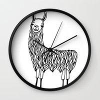 llama Wall Clocks featuring Llama by Lizzie Scott