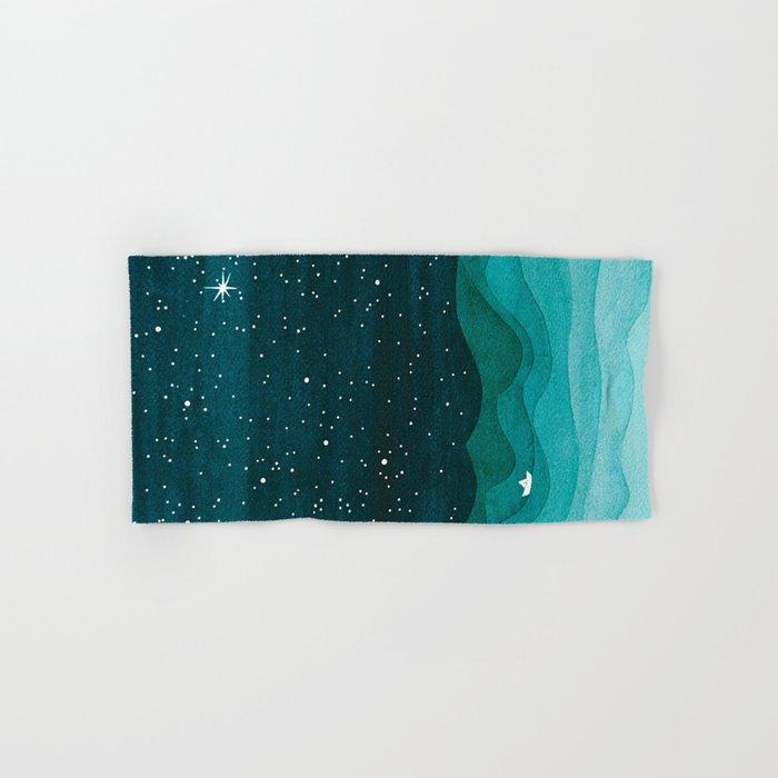 Starry Ocean, teal sailboat watercolor sea waves night Hand & Bath Towel