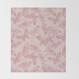 Butterfly Pattern soft pink pastel Throw Blanket
