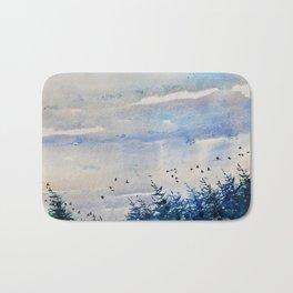 black birds, blue sky Bath Mat