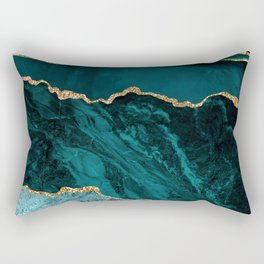 Teal, Gold, and Crushed Jade Agate Marble Design Rectangular Pillow