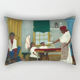 African American Masterpiece 'Saturday Morning Breakfast' by Horace Pippin Rectangular Pillow