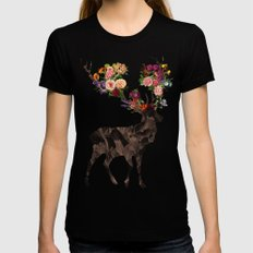 Spring Itself Deer Flower Floral Tshirt Floral Print Gift MEDIUM Black Womens Fitted Tee