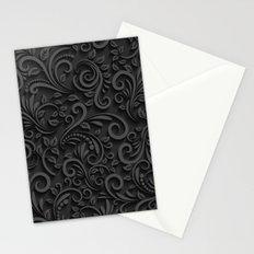 Stylized Floral Pattern Black & White Stationery Cards