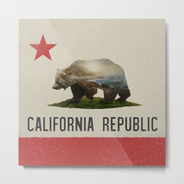 California Grizzly Bear Flag Metal Print