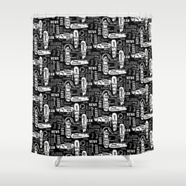Gamer Lingo-Black and White Shower Curtain