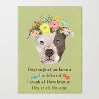 pitbull Canvas Prints featuring Pitbull by Elisandra