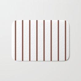 Vertical Lines (Maroon & White Pattern) Bath Mat