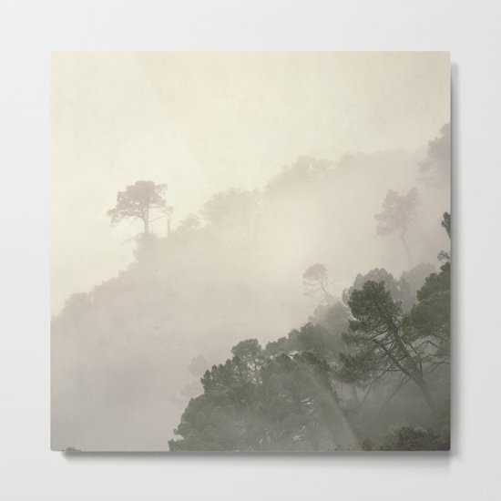 """Mountain light II"".(C) Foggy forest. Metal Print"