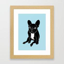 Cute brindle French Bulldog in black and white digital art Framed Art Print
