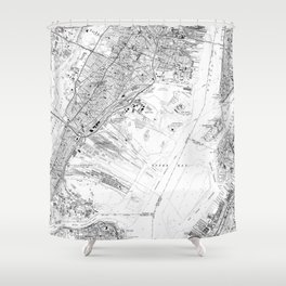 Vintage Map of Jersey City NJ (1967) BW Shower Curtain