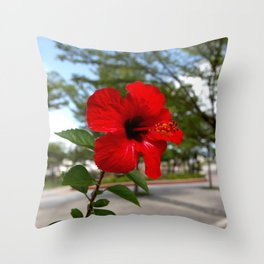 Red Flower Bloom Throw Pillow