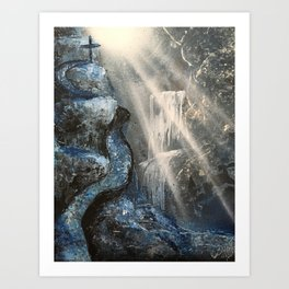 Spray Paint Waterfall Road to the Cross Art Print