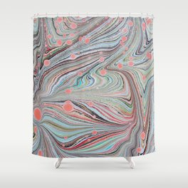 Marbled Multi-color Organic Pattern Shower Curtain