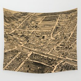 Vintage Pictorial Map of Durham NC (1891) Wall Tapestry