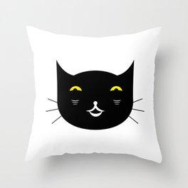 Black cat on white background #society6 #decor #buyart #artprint Throw Pillow