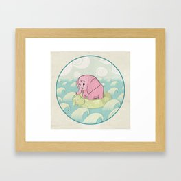Elephant Across the Sea Framed Art Print