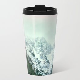 Snowy Winter Mountain Landscape with Alpenglow Travel Mug