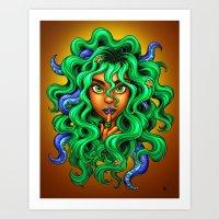 Tentacle Hair Lady- green Art Print