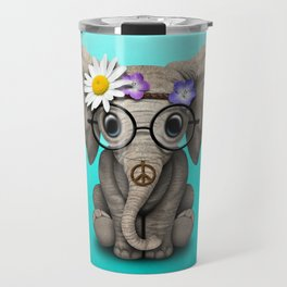 Cute Baby Elephant Hippie Travel Mug