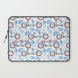 Vintage watercolor pink blue bicycle floral Laptop Sleeve