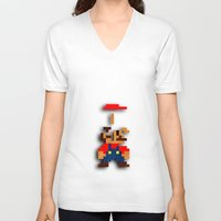 tetris V-neck T-shirts featuring Mario Tetris by Darthdaloon