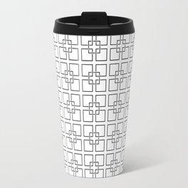 Black Interlocking Geometric Square Pattern on White Travel Mug