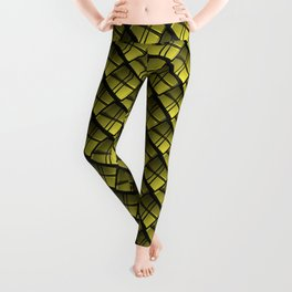 Interweaving square tile made of yellow rhombuses with dark gaps. Leggings