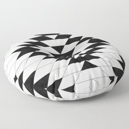 Urban Tribal Pattern No.15 - Aztec - White Concrete Floor Pillow