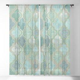 Moroccan Teal Green Sheer Curtain