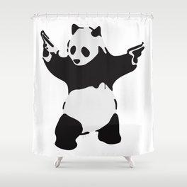 Banksy Pandamonium Armed Panda Artwork, Pandemonium Street Art, Design For Posters, Prints, Tshirts Shower Curtain