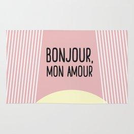 Bonjour Mon Amour Pink #babygirl #nursery #childrensroom #baby #babyshower #illustration #gift Rug