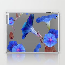 Grey Color Blue Morning Glory Art Design Pattern Laptop & iPad Skin