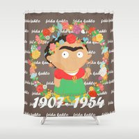 frida kahlo Shower Curtains featuring Frida Kahlo by Alapapaju