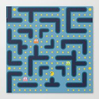 pacman Canvas Prints featuring RETRO GAME by Vickn