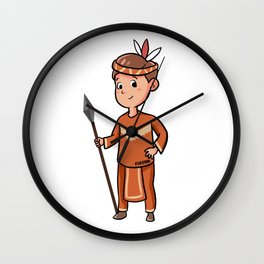 Children Young Indian feather spear Cartoon gift Wall Clock